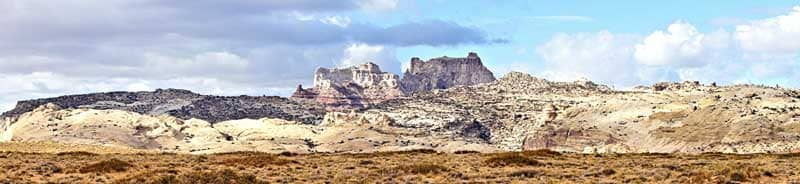 Panoramic view of sandstone formations
