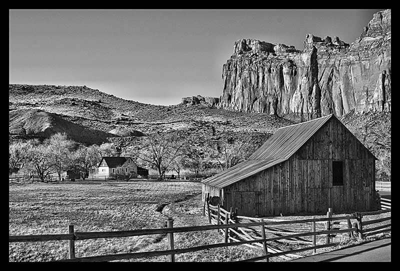 Black & White photo of a barn in Capitol Reef National Park
