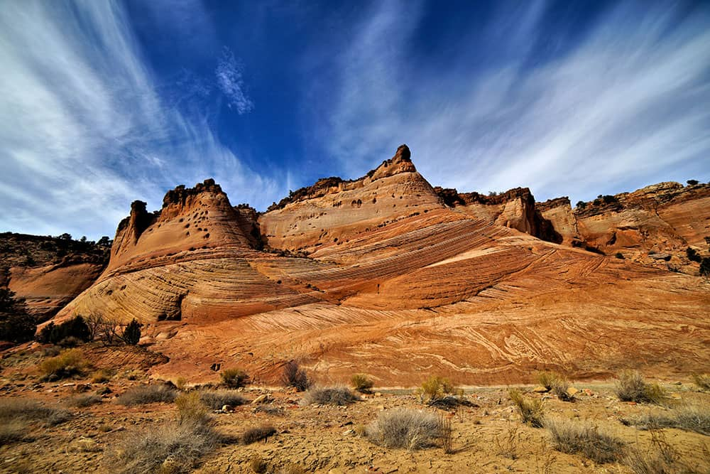 Sandstone formations and sky